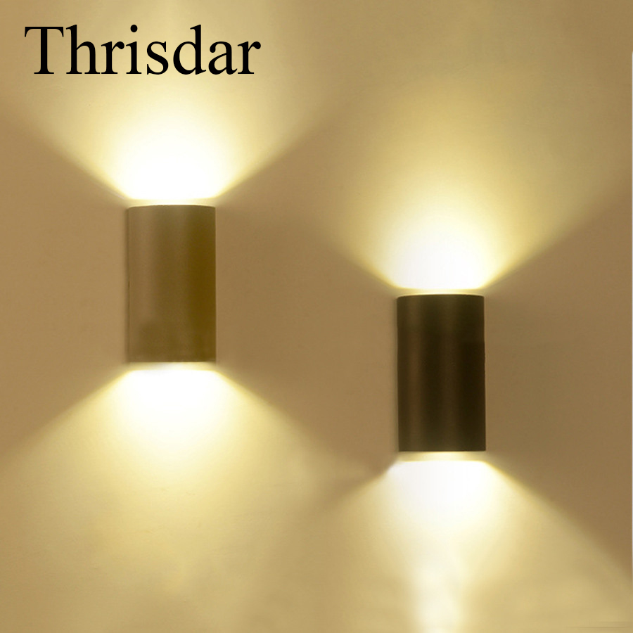 Thrisdar 6w 12w cob waterproof led wall sconce light fixture half cylindrical outdoor balcony garden yard porch lamp ac85 265v in outdoor wall lamps from