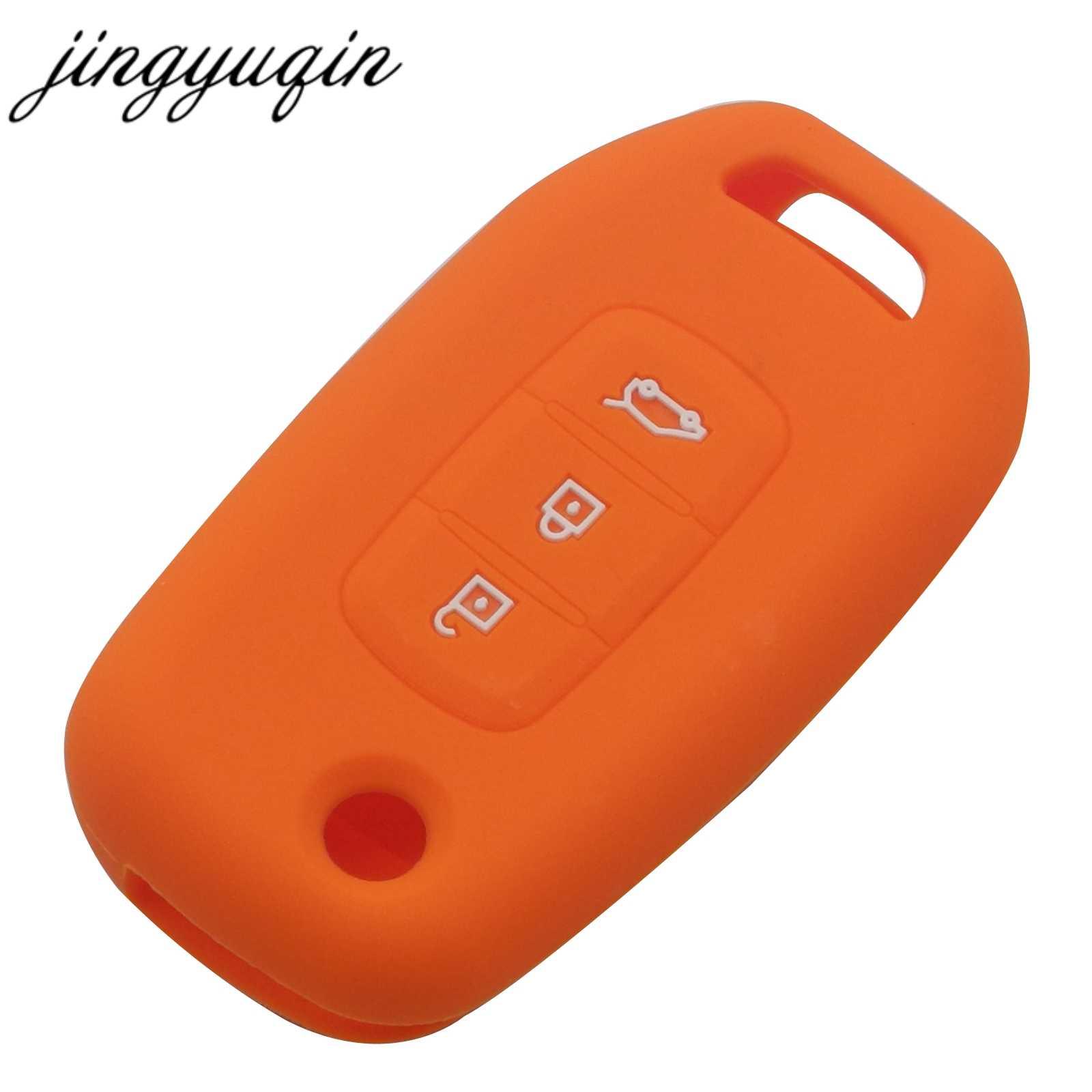 Jingyuqin سيليكون مفتاح غطاء فوب علبة لرينو kadtree كوليوس ميغان الوجه للطي مفتاح بعيد 3 أزرار هلام السيليكا سيارة التصميم
