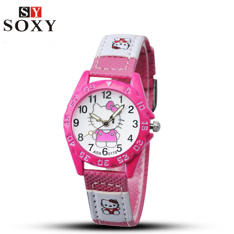 Hello Kitty Kids Watches Children's Watches Cartoon Watches For Girls Leather Baby Watch Children Clock Gift saat montre enfant купить