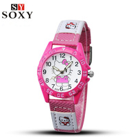 Hello Kitty Fashion Cute Cartoon Watch Kids Lovely Leather Strap Quartz Watch Children Watches Boy Girl