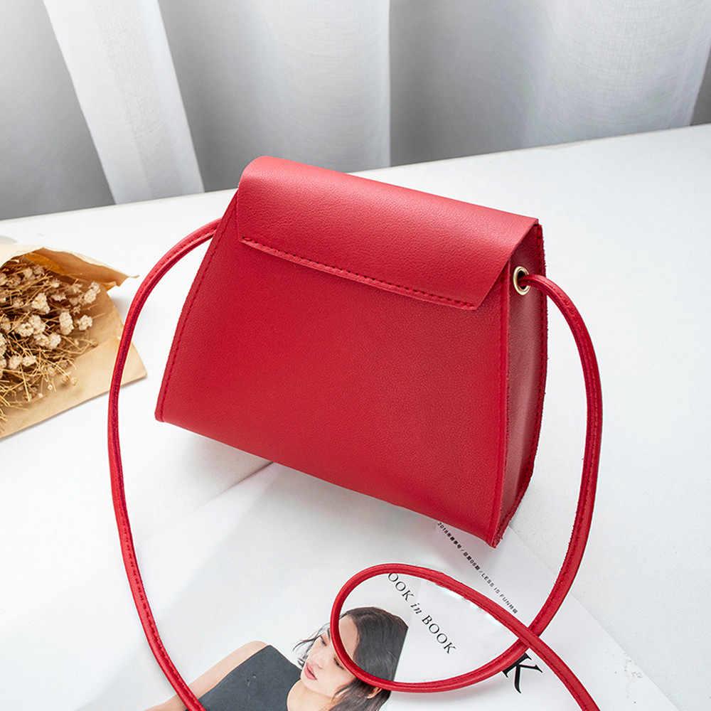 Eenvoudige Flap Schouder PU Lederen Tassen Vrouwen Meisjes Pure Kleur Mini Messenger Borst Bag Cross body Handtassen bolsa feminina LLJ