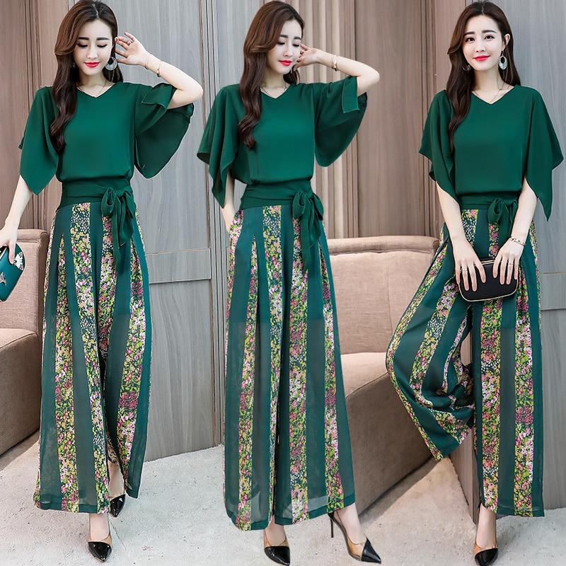 2018 Summer Women chiffon batwing sleeve shirt floral wide leg pants Sets lady two Pieces trouser
