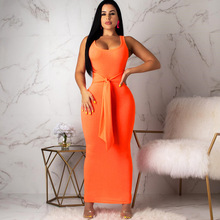 Causey Sleeveless Square Neck Pocket Hip-slim Long Dress Sexy Casual Lace-up Dress 2019 New Solid Color Breathable Summer Dress все цены