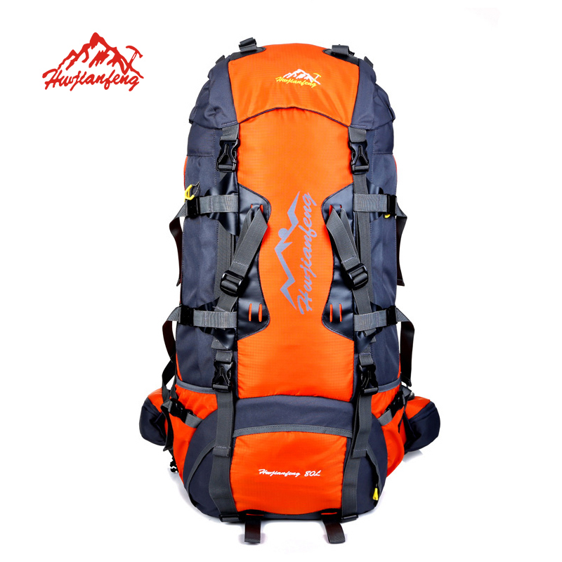 ФОТО HUWAIJIANFENG 80L Large Outdoor backpack Camping Travel Bag Professional Hiking Backpack Unisex Rucksacks sports bag Climbing