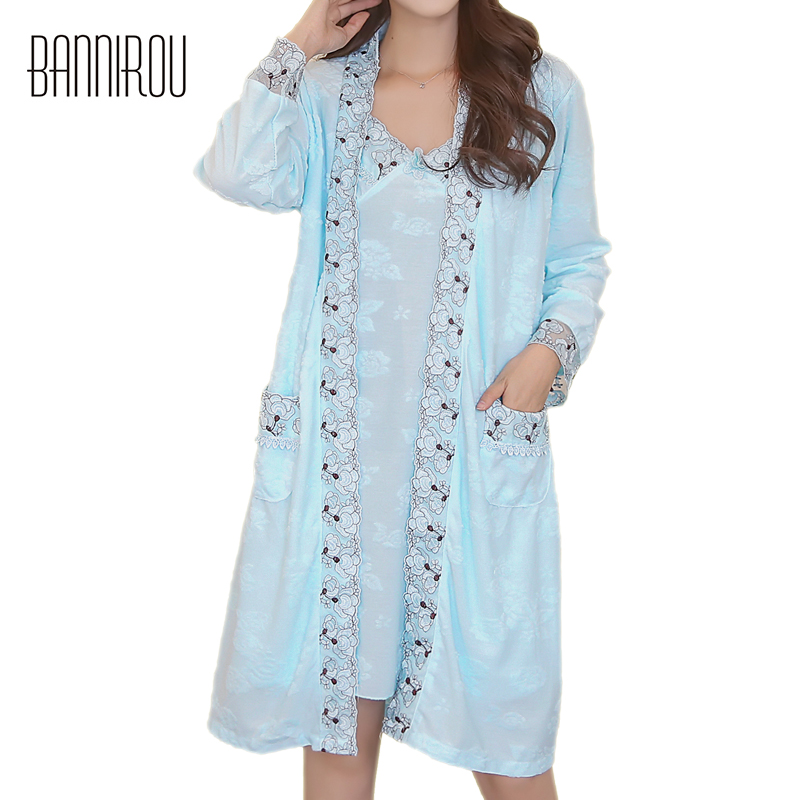 Woman Robes Sets Plus Size Large Cotton Embroidered Floral Sexy Female Bathrobes Gowns Nightgown Two-pieces Home Suit Sleep Wear