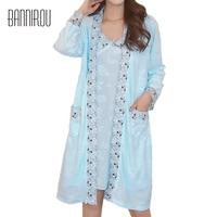 Woman Robes Sets Plus Size Large Cotton Embroidered Floral Sexy Female Bathrobes Gowns Nightgowns Home Suit Sleep Wear 2 pieces