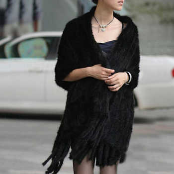 Elegant Women winter natural mink fur shawl cape black and coffee scarf pocket Scarves with Tassels Lady Pashmina Wraps