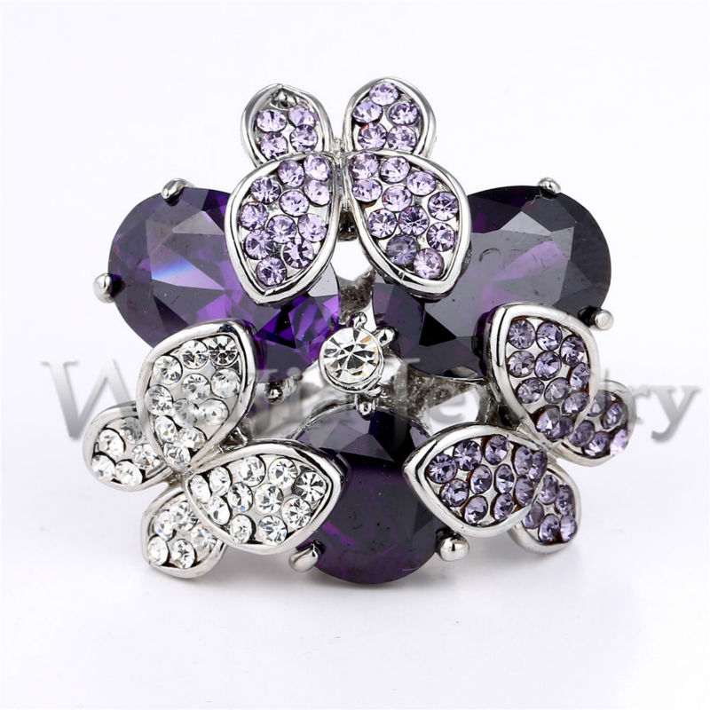 2017 new cute styles fashion wedding rings for women purple water drop cubic zirconia butterfly with swa element crystal j00973 in rings from jewelry - Butterfly Wedding Rings