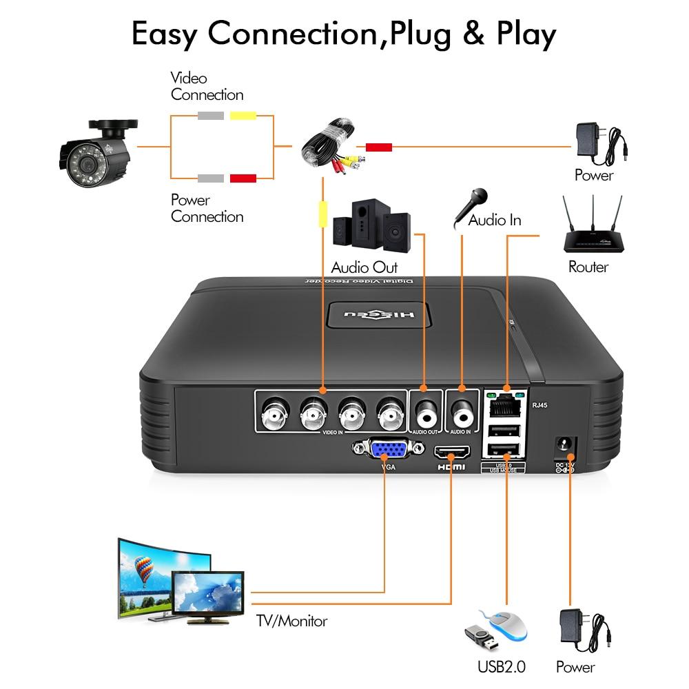 Hiseeu HD 4CH 1080N 5in1 AHD DVR Kit système cctv 2 pièces 720 P/1080 P AHD étanche/caméra vidéo 2MP P2P Surveillance de Sécurité Ensemble - 4