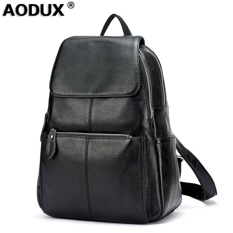 AODUX Backpacks Genuine Leather Women Backpack Girls Female Top Layer Cow Leather Schoolbag Pink/Gray/Dark Red/Dark Blue/White