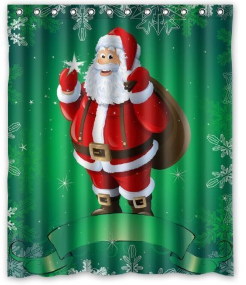 Santa Claus Bathroom Shower Curtains Woman Shadow Shower Curtain Waterproof Polyester Fabric Custom Bathroom Curtain Hooks