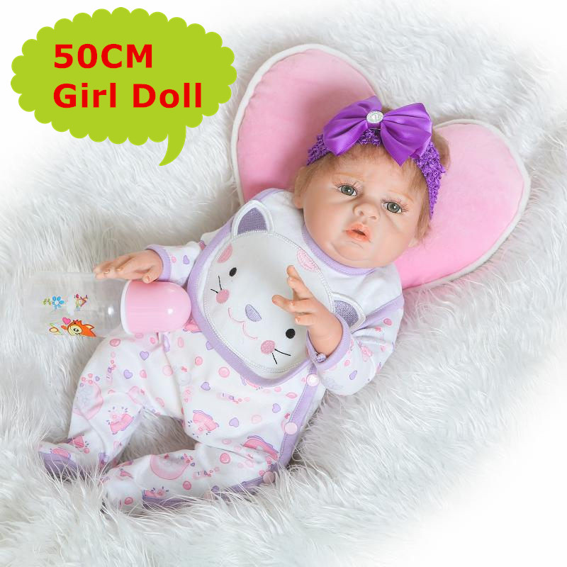 20 NPK Adorable Baby Reborn Girl Doll 50CM Alive Full Silicone Newborn Bebe Girl With Cute