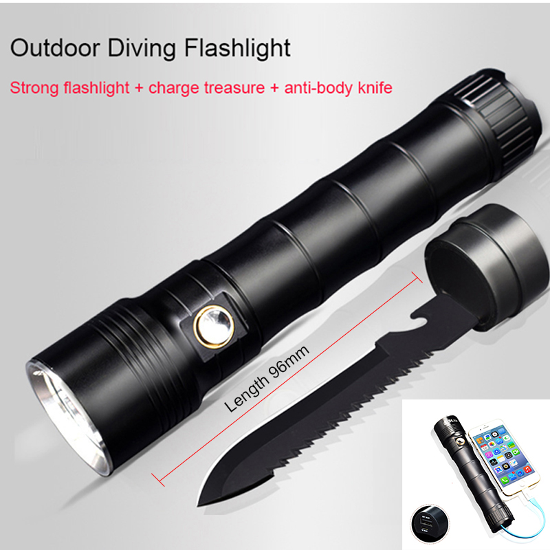 Multi-functional CREE XM L2 LED Flashlight 100m Diving Flashlight Power Bank Torch Tactical For 18650 with Knife Self Defense 3800 lumens cree xm l t6 5 modes led tactical flashlight torch waterproof lamp torch hunting flash light lantern for camping z93