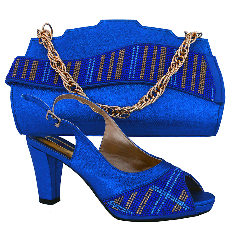 ФОТО 2016 NEW ARRIVAL  !!! Lady italian design shoes with matching bags in royal blue MM1017