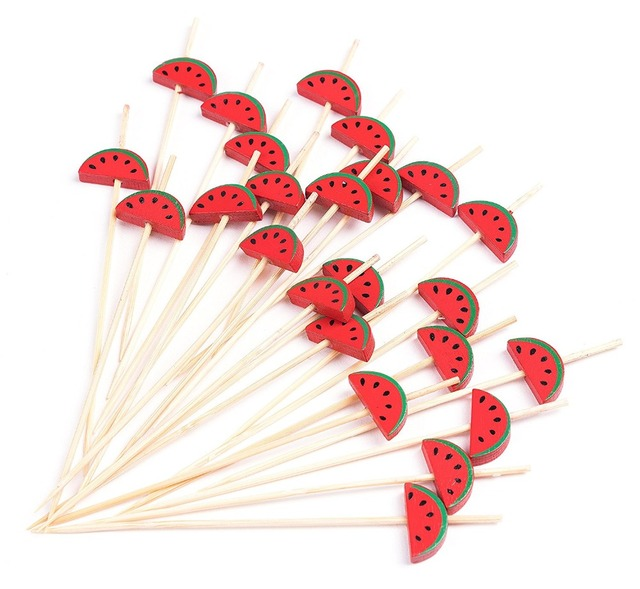 Free Shipping - Party Suppliers Disposable Tableware, 120mm Cocktail Red Watermelon Bamboo Pick Fruit Skewer, 100/Pack