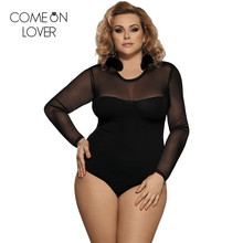 Comeonlover lace up bodysuit floral see through sexy women rompers plus size body top long sleeves slim mesh bodysuit ER80372