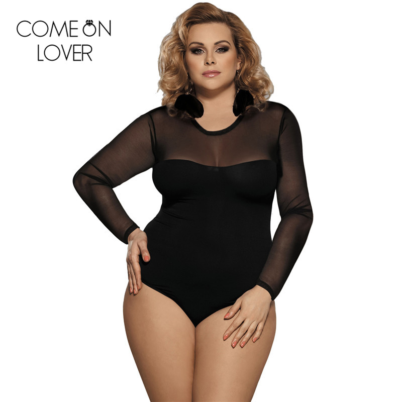 Comeonlover Lace Up Bodysuit Floral See Through Sexy Women Rompers Teddy Plus Size Body Long Sleeves Slim Mesh Bodysuit  ER80372