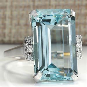 yanqueens Big Blue Crystal Women Lady Wedding Rings Jewelry 3cd7860bc