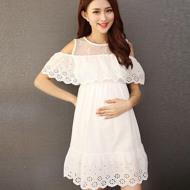 26fd41721fb Blanc Dentelle Coton De Maternité Dress Vêtements D été Séance Photo Usure  Enceinte Robe Grossesse