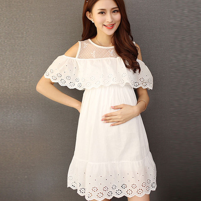af1f376c28021 White Lace Cotton Maternity Dress Clothes Summer Photo Shoot Pregnant Wear  Sundress Pregnancy Elegant Maxi Vestidos Clothing