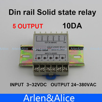 10DA 5 Channel Din Rail SSR Quintuplicate Five Input 3 32VDC Output 24 380VAC Single Phase