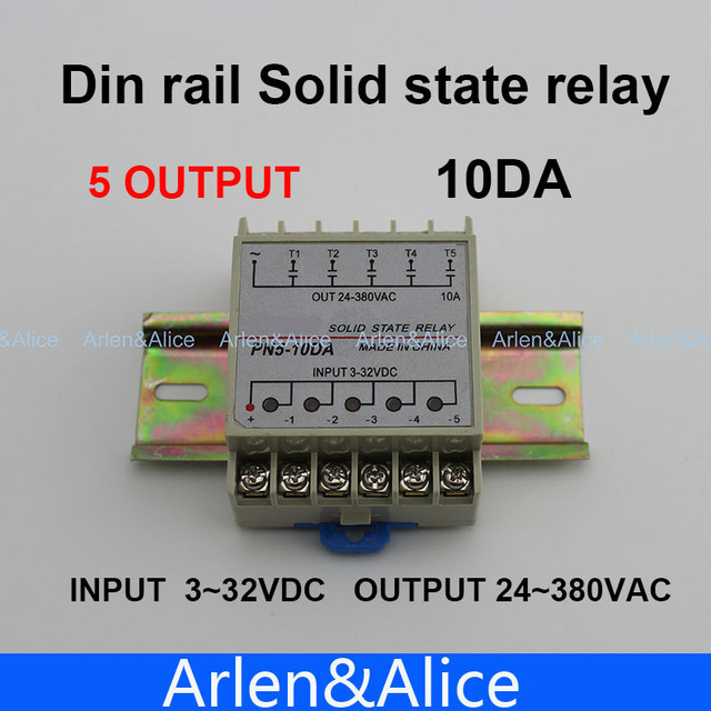 5 Channel 10DA Din rail SSR quintuplicate five input 3~32VDC output 24~380VAC single phase DC solid state relay 400a industrial ssr single phase input 4 32vdc output 24 680vac solid state relay 400a