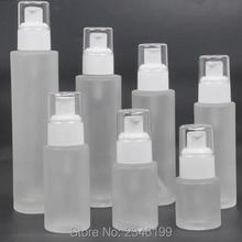120 мл 100 мл 80 мл 60 мл 40 мл 30 мл 20 мл пустая стеклянная Косметическая жидкая многоразовая бутылка с распылителем, DIY Стеклянная бутылка с насосом для лосьона, 10 шт./лот