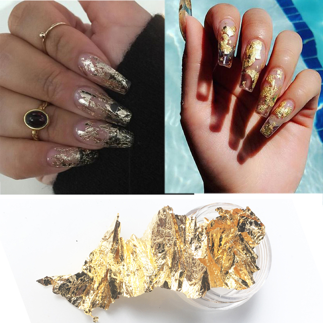 Gold Foil For Nail Art Marble Gold Foil -in Rhinestones ...