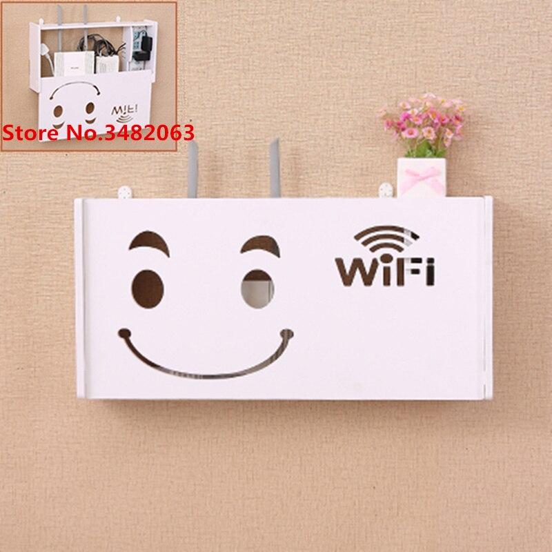 Super bois mural bureau à domicile sans fil Wifi routeur Set-top support TV support de la boîte tentures murales support câble stockage Rack