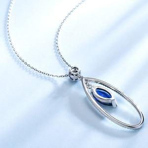 Image 4 - UMCHO Подвеска из настоящего серебра 925 пробы с голубым сапфиром, ожерелье с подвеской, ювелирные изделия для женщин с цепочкой, Новинка