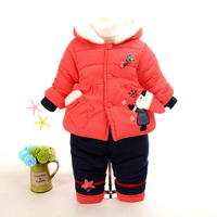 Baby Girl Winter Clothing Set Newborn Baby Warm Snowsuit Toddler Girl Jacket Outerwear Coat + Pant Infant Baby Chrismas Suit