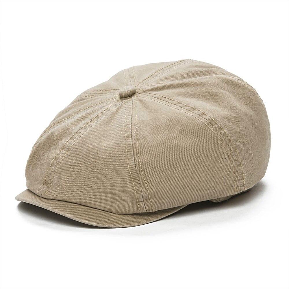 73d9ca08 VOBOOM Khaki 55-57 Head Size Twill Cotton Beret Cap Men Women Newsboy Caps  Thin