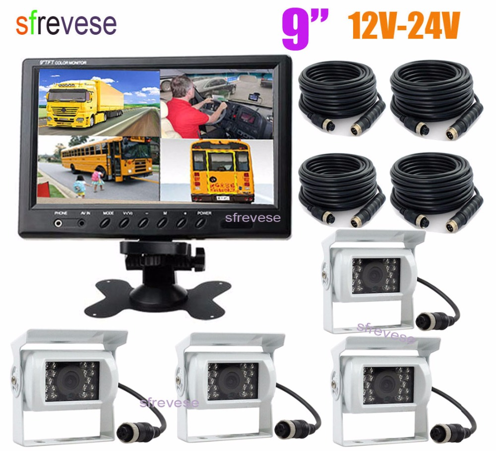 "4x 4Pin 18 LED IR Night Vision Reversing Parking Backup Camera White + 9"" LCD 4CH Split Monitor for Bus Truck Motorhome 12V 24V-in Vehicle Camera from Automobiles & Motorcycles    1"