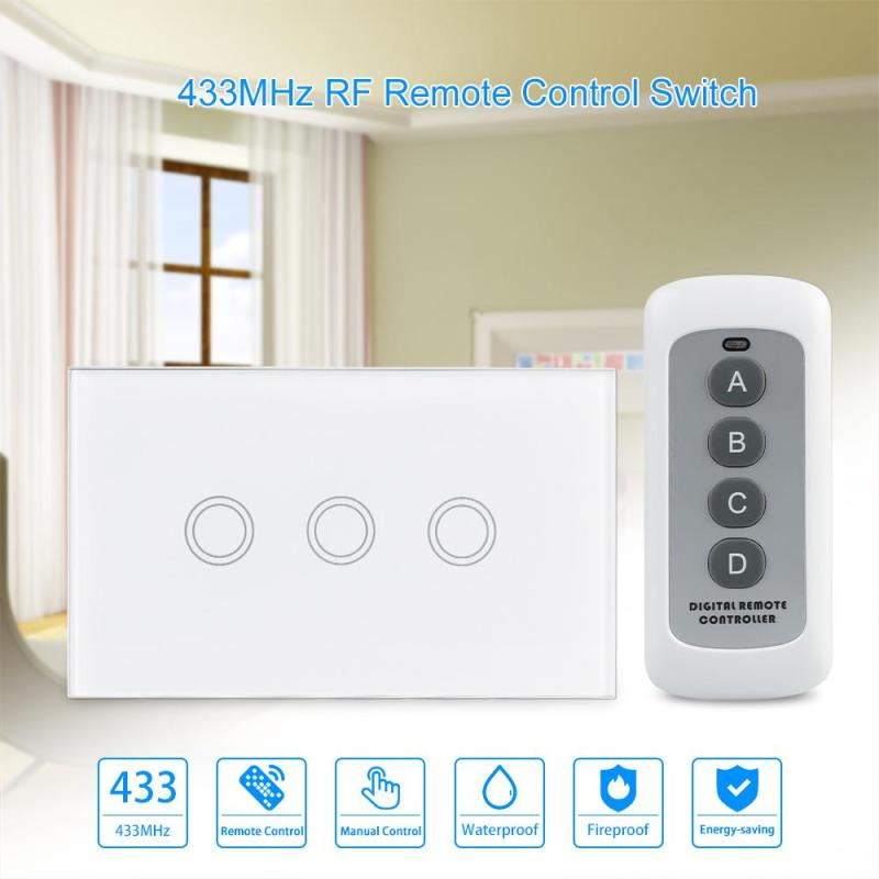 433MHz Remote Control Touch Switch 3 Gang 1 Way Crystal Glass Panel Wireless Wall Light Switch US Standard for smart home H3 smart home black touch switch crystal glass panel 3 gang 1 way us au light touch screen switch ac110 250v wall touch switches