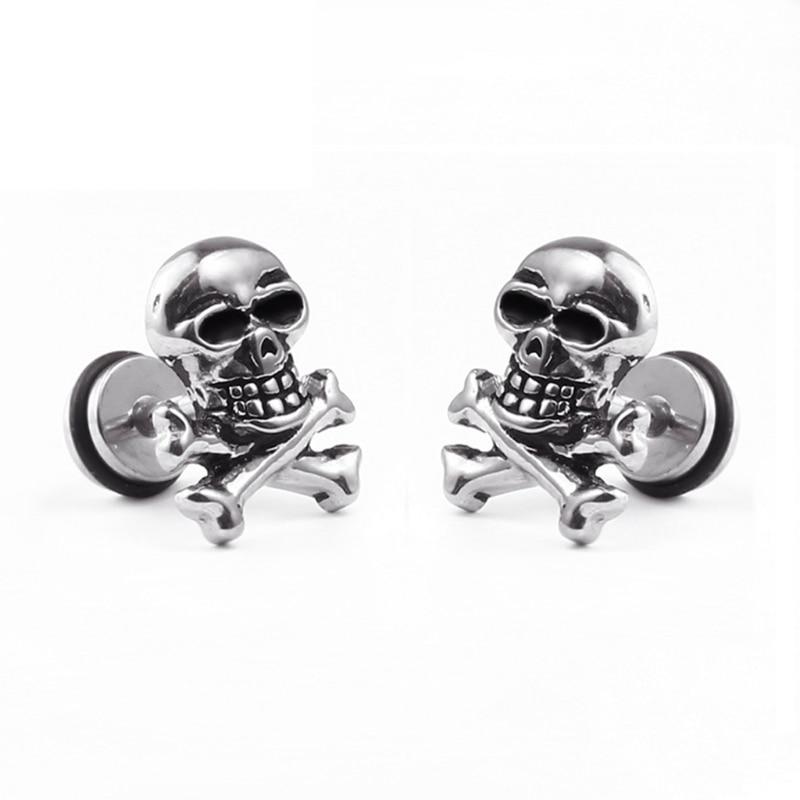 JAVRICK Studs Earrings Jewelry Skull-Head Ear-Piercing Punk Titanium Gift Steel Personality