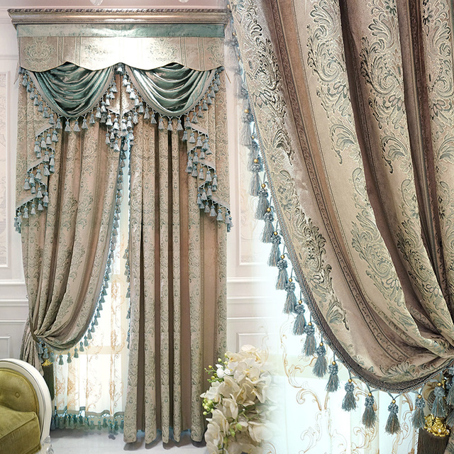 Luxury European Style Curtains Custom Luxury Simple Living Room Curtain  Retro Jacquard Superb Process Cloth Curtain