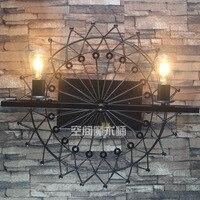 Лофт промышленности старинные кованого железа настенный светильник колесо обозрения ресторан кафе украшены коридор настенный светильник