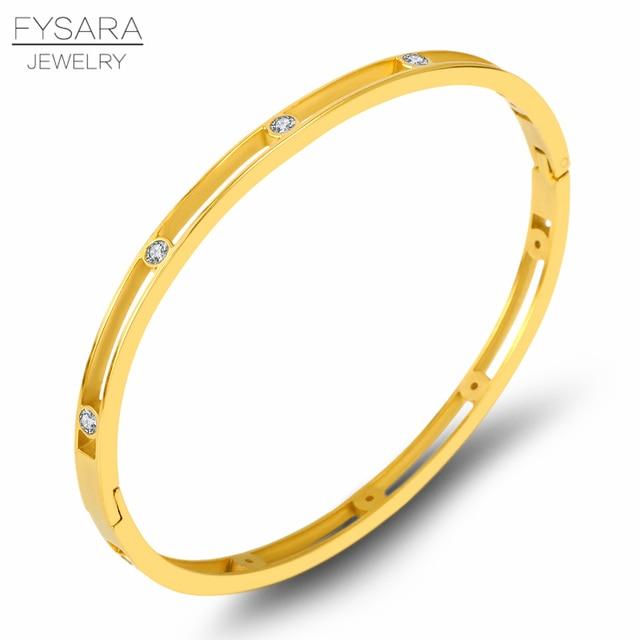 ff13b27ec10 FYSARA Trendy Zirconia Crystal Women Bangles Jewelry Hollow Thin Bracelets  Bijoux Rose Gold Color Rhinestones Arm Pulseiras New