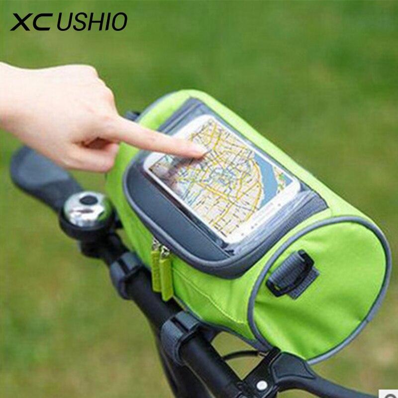 Impermeable bicicleta de montaña bicicleta bolsas maletas pantalla táctil ciclismo bolsa de teléfono caso de bicicleta de carretera tubo delantero del manillar del cilindro bolsa