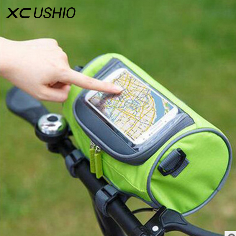Waterproof Mountain Bike Bicycle Bags Panniers Touch Screen Cycling Phone Bag Case Road Bike Front Tube Handlebar Cylinder Bag osah dry bag kayak fishing drifting waterproof bag bicycle bike rear bag waterproof mtb mountain road cycling rear seat tail bag