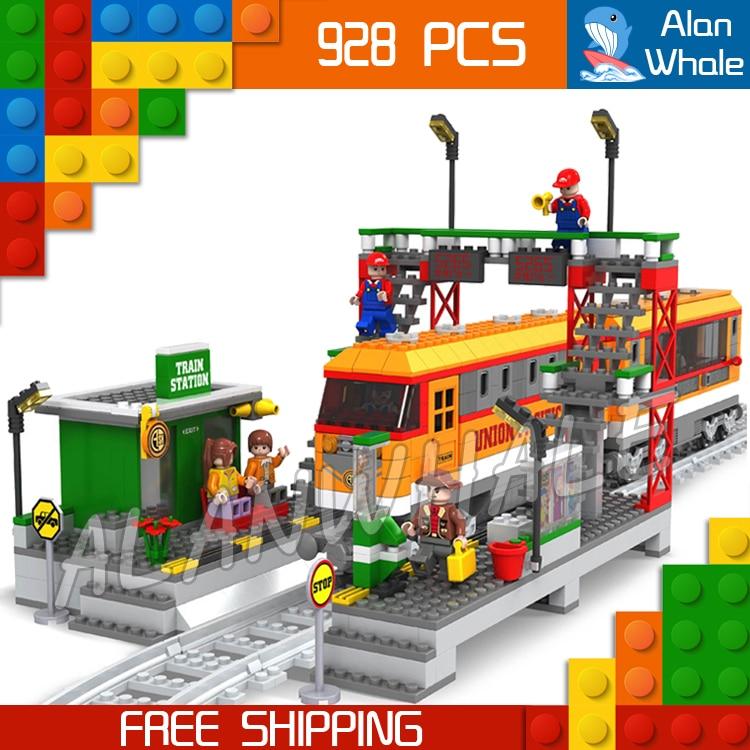 928pcs Creator High-speed Passenger Train Station locomotive Model Building Blocks Bricks City Railway Toys Compatible With lego