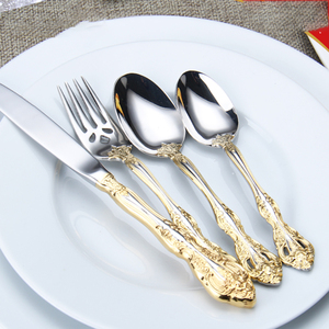 Image 4 - Talheres de aço inoxidável ocidental padrão retro talheres 6 peça conjunto colheres facas garfos conjunto cozinha casa wzn018