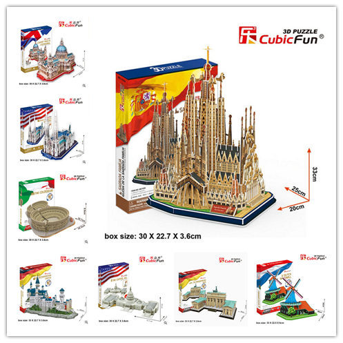 Cubic Fun 3D Paper Puzzle Model Series MC Large Size Taj Mahal Empire State Building Rome Colosseum Souvenir Children Gift Toy