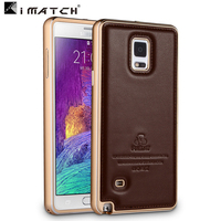 Newest Luxury Ultra Thin Aluminum Metal Genuine Leather Back Cover Case For Samsung Galaxy Note 4