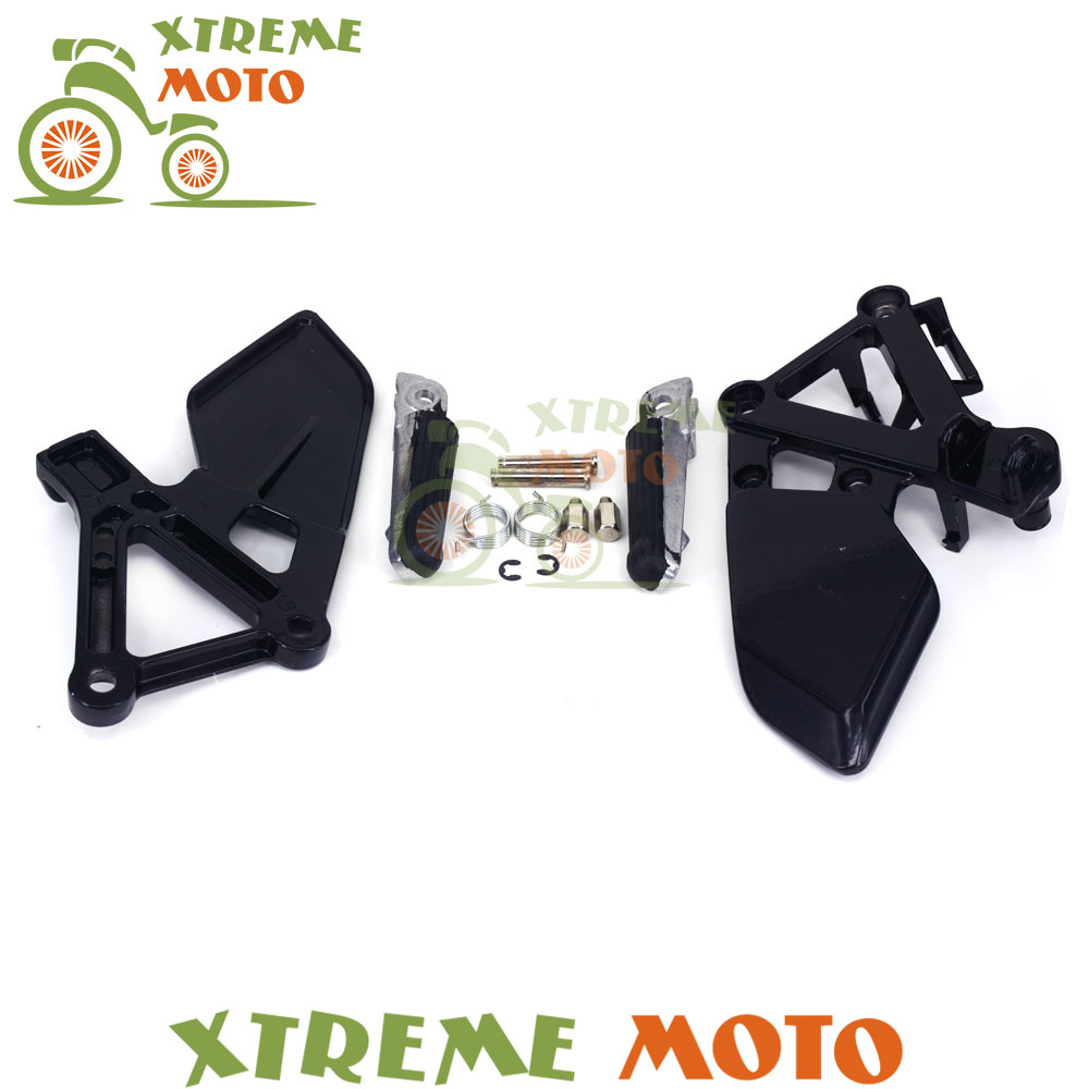 Black Front Rider Footrests Foot Pegs Rests Pedals Tripod Brackets Mount For Honda CBR250 MC19 1988 1989