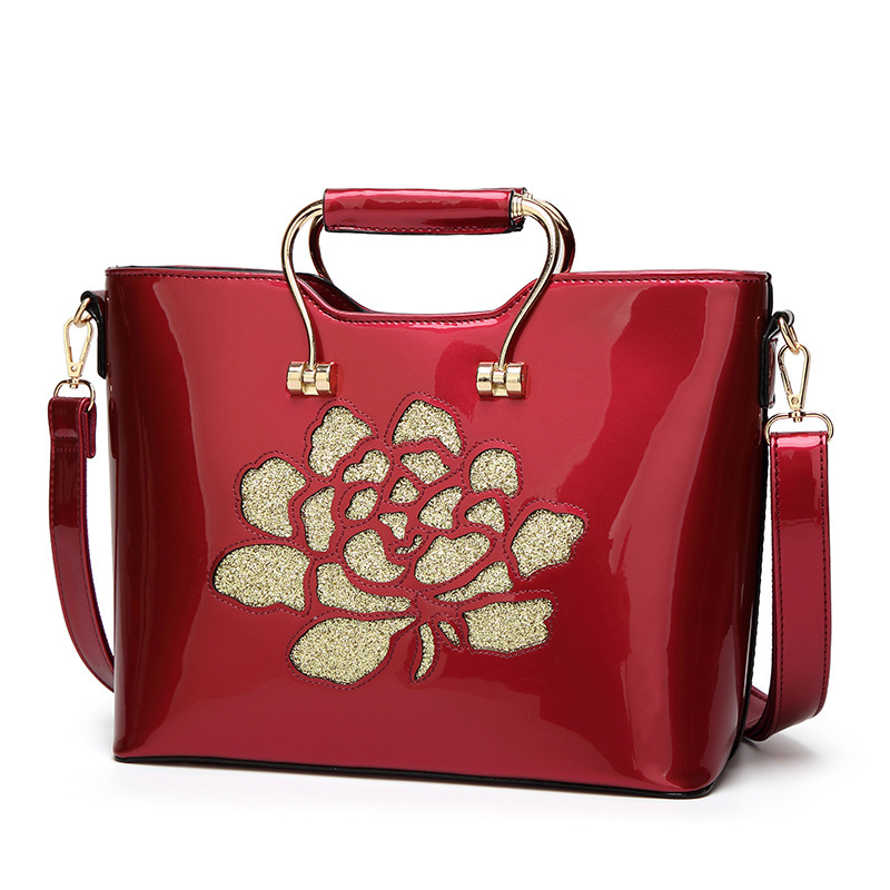 patent leather women handbags 2017 new fashion floral PU female shoulder handbag bag hot burgundy flower decoration women bags yuanyu 2018 new hot free shipping python skin women handbag single shoulder bag inclined female bag serpentine women bag