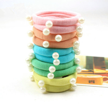 5pcs candy-colored high elasticity girl  pearl hair band scrunchy ponytail holder circles womens accessories