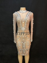 Sparkly Big Crystals Mesh Perspective Dress Evening Party Dresses Birthday Celebrate Costume Singer Performance Dress