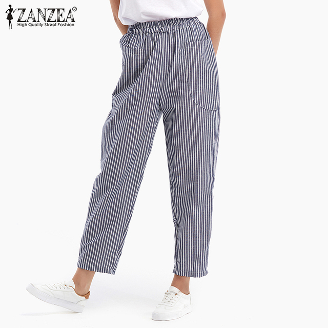 09c9adf8581 ZANZEA 2018 Spring Summer Women Fashion Elastic Waist Striped Pants Casual  Pockets Cotton Linen Loose Trousers Plus Size S-5XL