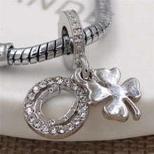 Silver Planted Clover Charm Letter U with Full Rhinestone Fit Pandora style Bracelet Original Fashion Jewelry free shipping(China)